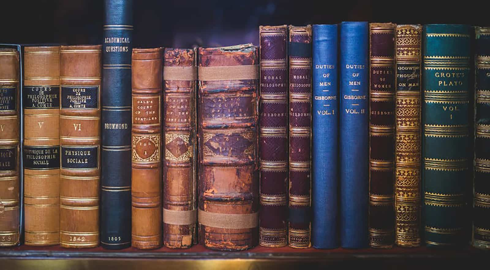 bookshelf with books containing legalese